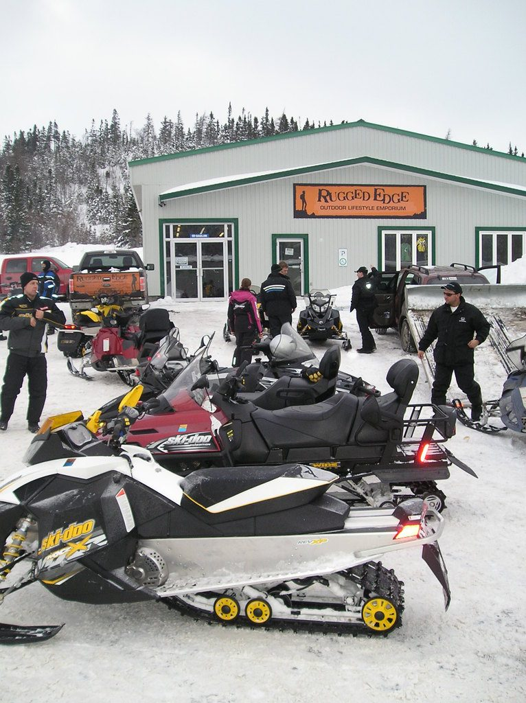 Busy winter parking lot...even today, many west coast sledders will utilize Rugged Edge as their staging area.
